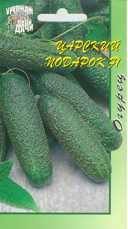 Семена Урожай удачи Огурец. Царский подарок4607111745002Раннеспелый партенокарпический гибрид для открытого грунта, пленочных теплиц и укрытий. От всходов до начала плодоношения 43-45 дней. Растения женского типа цветения, формируют в одном узле по 2-3 плода. Плоды-корнишоны, красивые, короткие, длиной 8-10 см, мелкобугорчатые, зеленые с более светлым пятном на верхушке плода, генетически без горечи. Вкусовые качества свежих и консервированных плодов отличные. Устойчив к настоящей и ложной мучнистой росам, вирусу огуречной мозаики, толерантен к оливковой пятнистости.Превосходен для салатов и переработки. Агротехника: Посев - IV-VI, высадка рассады - VI, схема посадки - 40 х 60 см, уборка урожая - VI-IX.Товар сертифицирован.Уважаемые клиенты! Обращаем ваше внимание на то, что упаковка может иметь несколько видов дизайна. Поставка осуществляется в зависимости от наличия на складе.