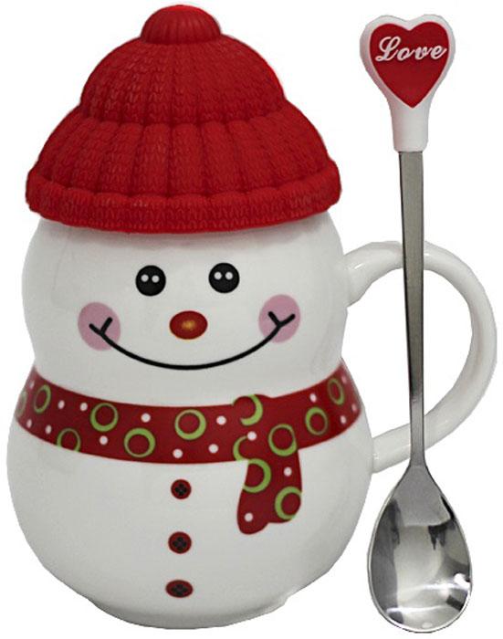 Кружка Снеговик с ложкой, в подарочной упаковке, 300 мл105185Чашка в виде фигурки Снеговика будет отличным подарком на Новый год. Упакована в подарочную коробку.