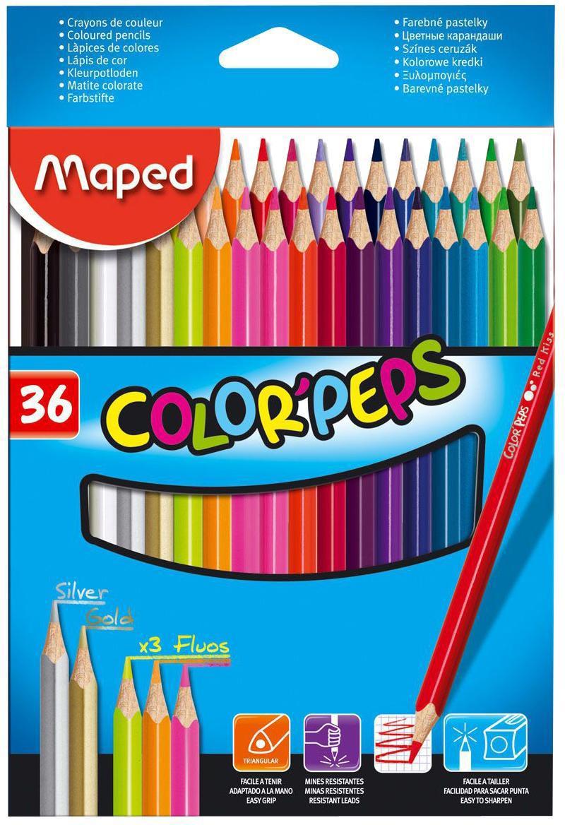 Карандаши цветные Maped Color Peps, 36 цветов832017В процессе рисования у малышей развивается наглядно-образное мышление, воображение, мелкая моторика рук, творческие и художественные способности, вырабатывается усидчивость и аккуратность. Набор содержит карандаши 36 ярких насыщенных цветов. Все карандаши предварительно заточены. Цветные карандаши Color Peps разработаны специально для самых маленьких художников, которые только начинают свой творческий путь. Эргономичный трехгранный корпус из американской липы особенно удобен для маленьких детских ручек. Специальное покрытие и многослойная лакировка уменьшают скольжение, что делает процесс рисования максимально комфортным. Мягкий, ударопрочный грифель не ломается и не крошится при заточке. В процессе рисования у малышей развивается наглядно-образное мышление, воображение, мелкая моторика рук, творческие и художественные способности, вырабатывается усидчивость и аккуратность.