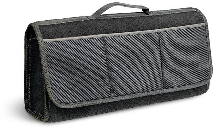 Сумка-органайзер в багажник Autoprofi Travel, ковролиновая, цвет: черный. ORG-20 BKORG-20 BKСумка-органайзер в багажник Autoprofi Travel - это удобная и практичная вещь для перевозки и хранения в багажнике автомобиля инструментов, автохимии, аксессуаров и прочих предметов. Аксессуар изготовлен из износостойкого ковролина, гармонично сочетающегося с оформлением интерьера автомобиля. Органайзер позволяет рационально использовать место в багажном отделении, сохраняя его в чистоте и порядке. С передней стороны содержится 3 кармана. Полосы-липучки, расположенные на тыльной стороне и днище органайзера, не дают ему скользить по поверхности и надежно фиксируют его в багажнике. Для удобства переноски органайзер оснащен ручкой.