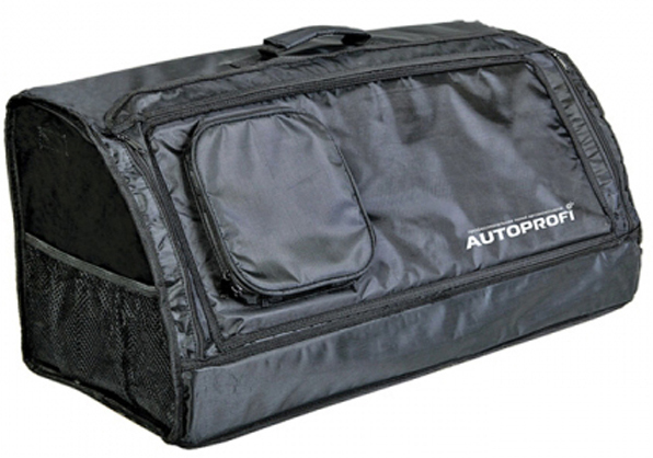 Сумка-органайзер в багажник Autoprofi Travel, брезентовая, цвет: черный. ORG-30 BKORG-30 BKСумка-органайзер в багажник Autoprofi Travel изготовлена из огнеупорного водостойкого брезента. Он устойчив к механическим повреждениям и легко чистится. Натуральные материалы изделия не линяют и химически не активны, поэтому в сумке можно перевозить продукты и даже домашних животных.Органайзер предназначен для хранения и транспортировки в багажнике автомобиля инструментов, средств автохимии и автокосметики, автомобильных аксессуаров и прочей поклажи. Сумка оснащена несколькими отсеками и карманами, поэтому в ней очень удобно и практично перевозить различные предметы, сохраняя в багажном отделении чистоту и порядок. Для удобства переноски сумка имеет ручку.Полосы-липучки, расположенные на тыльной стороне и днище органайзера, не дают ему скользить по поверхности и надежно фиксируют сумку в багажнике. Характеристики: Материал: брезент. Цвет: черный. Размер сумки-органайзера: 70 см х 32 см х 30 см. Размер упаковки: 6 см х 32 см х 70 см. Артикул: ORG-30 BK.