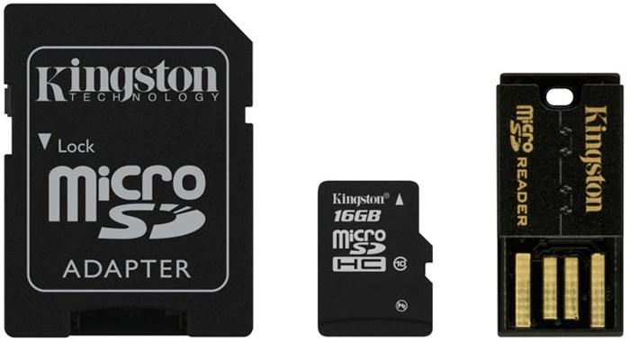 Kingston Mobility Kit microSDHC Class 10 16GB (MBLY10G2/16GB) карта памяти + адаптерMBLY10G2/16GBKingston Mobility Kit microSDHC Class 10 - карта памяти для различных фото и видео устройств. В комплекте присутствует адаптер, позволяющий использовать ее в любых устройствах с USB разъемом и адаптером.