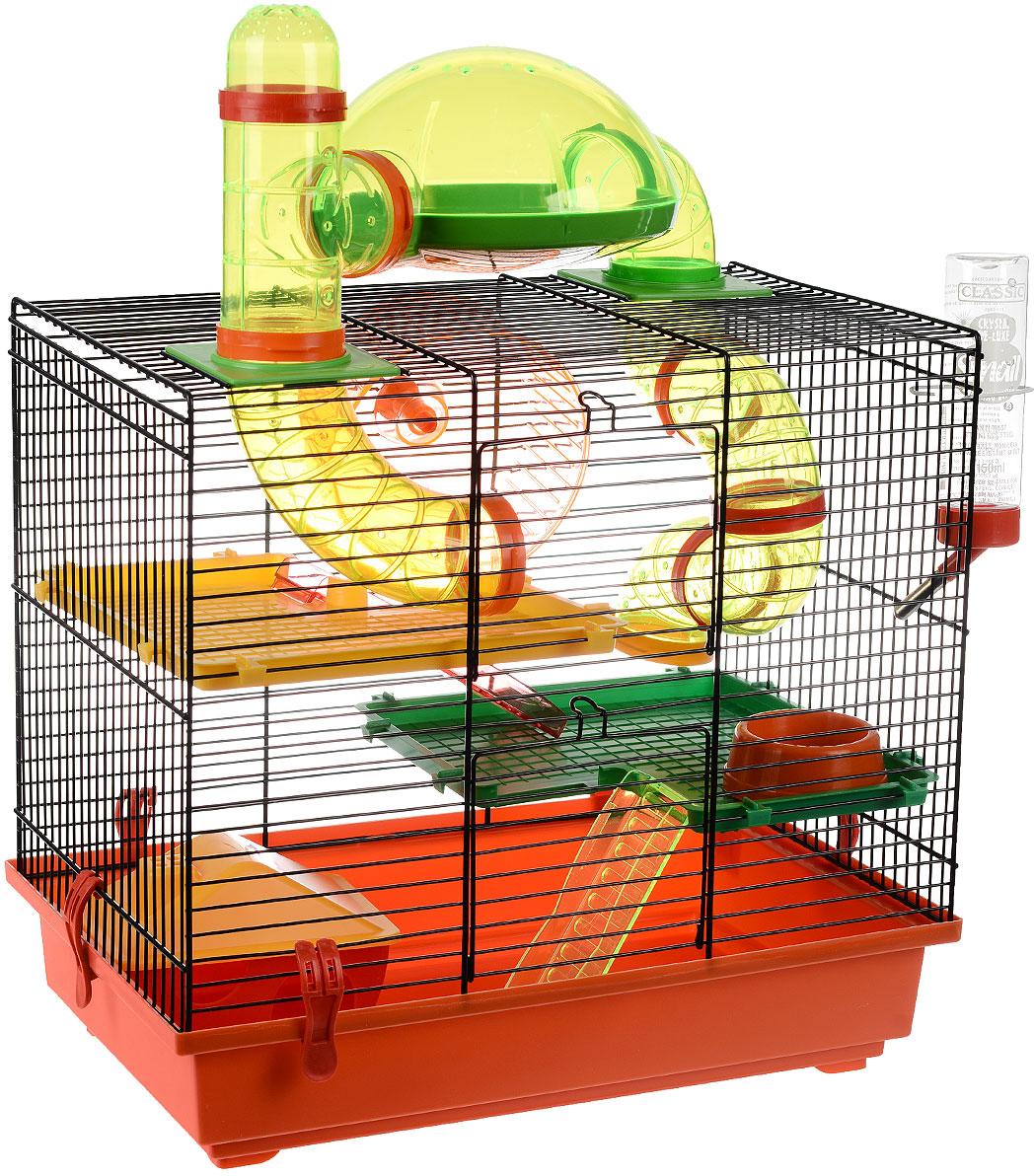 Клетка для грызунов I.P.T.S. Rocky, с игровым комплексом, цвет: черный, красный, 43 см х 28 см х 38,5 см клетка для грызунов i p t s mini с игровым комплексом 32 см х 20 см х 24 см