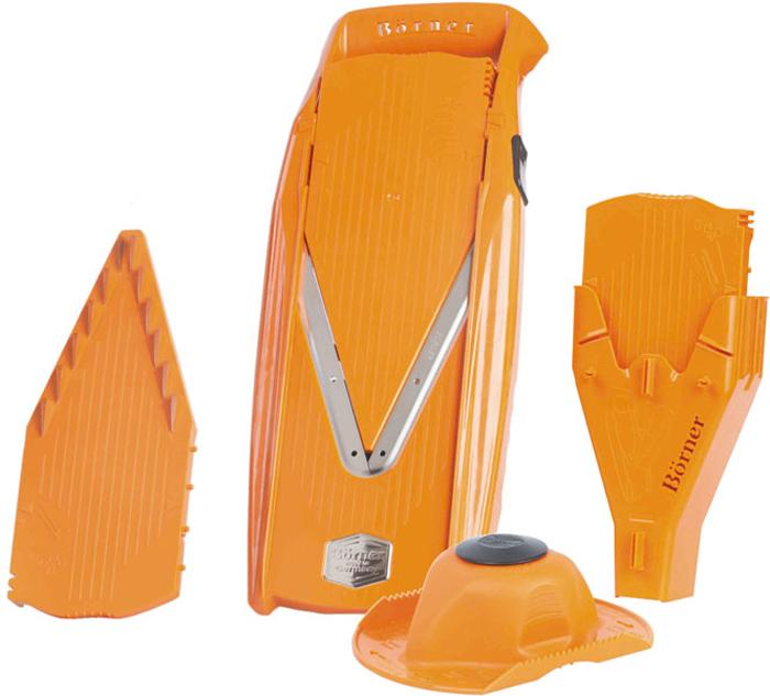 Овощерезка Borner Prima+, цвет: оранжевый, 6 предметов3810068Овощерезка Borner Borner Prima+ всегда будет отличным и незаменимым помощником на вашей кухне. Она позволяет значительно сэкономить время и улучшить вкус и качество приготовленной пищи. Корпус овощерезки выполнен из ударопрочного ABS-пластика, а ножи из высококачественной нержавеющей стали.В комплект входит:- V-образная рама, в которую вставляют вставки; - Безопасный плододержатель;- Безножевая вставка; - Вставка с ножами 3,5 мм; - Вставка с ножами 7 мм;- Бокс для вставок.Бокс для вставок, идущий в комплекте к овощерезке Prima+, это удобное приспособление в двух аспектах: для хранения всех вставок, входящих в комплект, плюс он крепится на комплект так, что становится подставкой для него и плододержателя.В основную V-образную раму вставляются попеременно три разные вставки:- Плоская (безножевая), на которой режутся 4 толщины колечек и пластинок. Кроме того, ее же можно поставить в положение блок и закрыть этой вставкой наглухо лезвия на основной раме во время ее хранения. Изменение толщины нарезки на вставке происходит путем легкого нажатия со смещением, а обратно - нажатием на боковую кнопку на корпусе;- Вставка с ножами 7 мм. В двух положениях дает соломку, брусочки, кубики и прочее толщиной 7 мм в одном положении и 3,5 мм во втором положении;- Вставка с ножами 3,5 мм. В двух положениях дает соломку, брусочки, кубики и прочее толщиной 3,5 мм в одном положении и 1,8 мм во втором положении. Передвижение вставок осуществляется с помощью боковой кнопки.