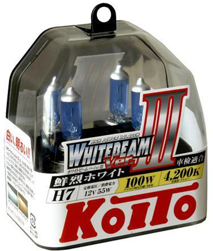 Лампа высокотемпературная Koito Whitebeam H7 12V 55W 100W пластиковая упаковка - 2 шт. комплект P0755WKOITO Лампа автомобильная P0755WЛампы KoiTo h7 повышенной яркости торговой марки Koito являются высококачественными расходниками для автомобильного освещения. Высокое качество данных ламп достигнуто внедрением в производство передовых технологий и использование лучших материалов обладающих бесподобными характеристиками. Компания Koito удерживает мировое лидерство на рынке реализации данной продукции и заслужила доверие сотен автовладельцев своим высоким качеством.Применение:Лампы h7 koito 4200K повышенной яркости используют для головного освещения дорожного покрытия. Передние фары, оборудованные данными лампами, освещают намного эффективнее стандартных ламп. Работают они от напряжения 12В, тип цоколя H7. Такие требования к электрооборудованию позволяет установить данные лампы на множество моделей и марок авто.Особенности и преимущества:При мощности 55Вт, они работают на 100Вт;Если вы выбрали лампы h7 koito, то они гарантированно прослужат Вам полтора года, и не потеряют своихвысоких качеств;Лампы не наносят вред пластику фар и электрооборудованию Вашего авто;Мягкое насыщенное освещение позволит Вам отлично видеть дорогу. При этом глаза не будут уставать.Если Вы выбрали koito h7, купить их можно в нашем магазине. Мы предоставляем только оригинальные лампы от Японского производителя. Благодаря крупным прямым поставкам, цена на товар довольно демократичная. Koito h7 купить в нашем магазине – это сделать выгодную покупку. Вы не толькосэкономите деньги, но и получите высококачественный товар и отменное сервисное обслуживание. Качество проверенное временем и высокими требованиями крупнейшего автомобильного производителя.Напряжение: 12 вольт
