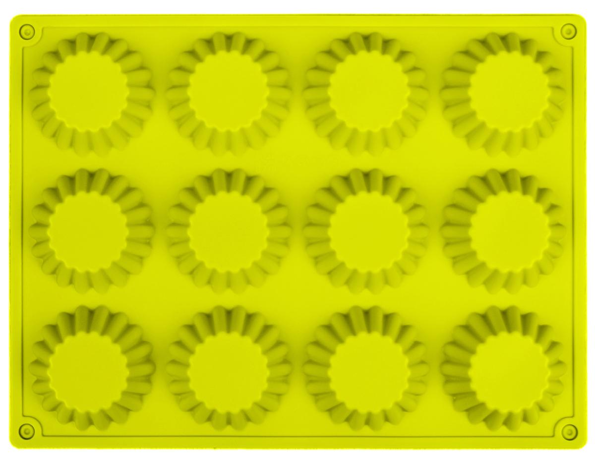 Форма для выпечки Доляна Кексы малые, цвет: желтый, 34,5 х 26 х 3 см, 12 ячеек1000384_желтыйФорма для выпечки из силикона — современное решение для практичных и радушных хозяек. Оригинальный предмет позволяет готовить в духовке любимые блюда из мяса, рыбы, птицы и овощей, а также вкуснейшую выпечку.Почему это изделие должно быть на кухне?блюдо сохраняет нужную форму и легко отделяется от стенок после приготовления;высокая термостойкость (от –40 до 230 ?) позволяет применять форму в духовых шкафах и морозильных камерах;небольшая масса делает эксплуатацию предмета простой даже для хрупкой женщины;силикон пригоден для посудомоечных машин;высокопрочный материал делает форму долговечным инструментом;при хранении предмет занимает мало места.Советы по использованию формыПеред первым применением промойте предмет тёплой водой.В процессе приготовления используйте кухонный инструмент из дерева, пластика или силикона.Перед извлечением блюда из силиконовой формы дайте ему немного остыть, осторожно отогните края предмета.Готовьте с удовольствием!