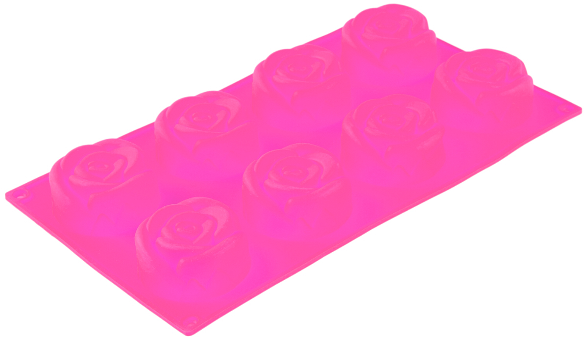 Форма для выпечки Доляна Розы, цвет: розовый, 17,5 х 28 х 4 см, 8 ячеек1003545_розовыйФорма для выпечки из силикона — современное решение для практичных и радушных хозяек. Оригинальный предмет позволяет готовить в духовке любимые блюда из мяса, рыбы, птицы и овощей, а также вкуснейшую выпечку.Почему это изделие должно быть на кухне?блюдо сохраняет нужную форму и легко отделяется от стенок после приготовления;высокая термостойкость (от –40 до 230 ?) позволяет применять форму в духовых шкафах и морозильных камерах;небольшая масса делает эксплуатацию предмета простой даже для хрупкой женщины;силикон пригоден для посудомоечных машин;высокопрочный материал делает форму долговечным инструментом;при хранении предмет занимает мало места.Советы по использованию формыПеред первым применением промойте предмет тёплой водой.В процессе приготовления используйте кухонный инструмент из дерева, пластика или силикона.Перед извлечением блюда из силиконовой формы дайте ему немного остыть, осторожно отогните края предмета.Готовьте с удовольствием!