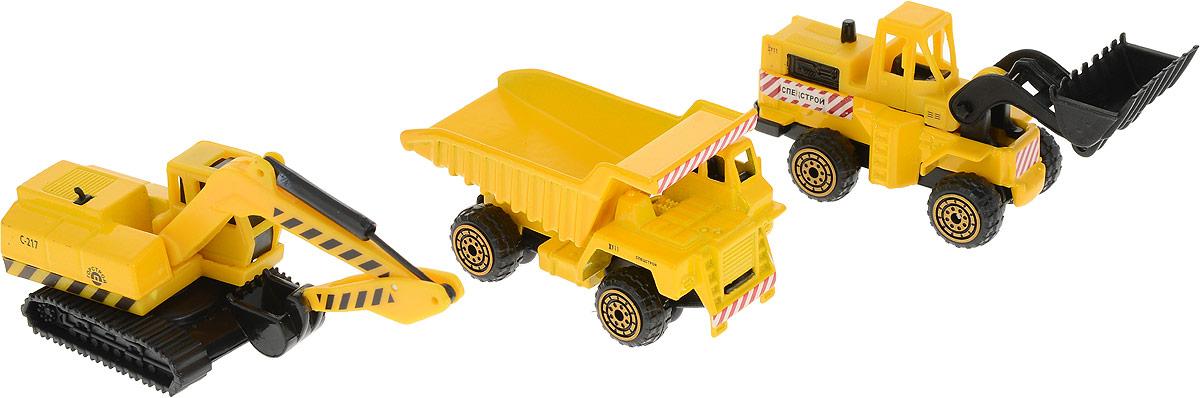 ТехноПарк Набор машинок Стройтехника цвет желтый 3 шт технопарк набор машинок городской транспорт 3 шт
