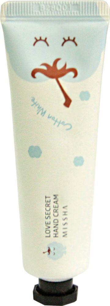 Missha Love Secret Hand Cream Cotton White Ухаживающий крем для кожи рук, 30 мл744508Крем для рук от корейского косметического бренда Missha оказывает глубокое увлажнение и питание коже рук Он окутывает кожу свежим ароматом, имеет легкую текстуру В состав крема для рук входят растительные масла и натуральные экстракты, которые стимулируют защитные свойства кожи