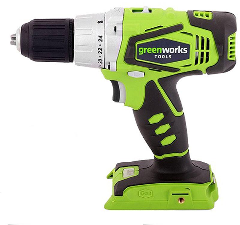 Дрель-шуруповерт аккумуляторная Greenworks 24V без аккамулятора 3701507 аккумуляторная дрель шуруповерт greenworks g24dd 3701507