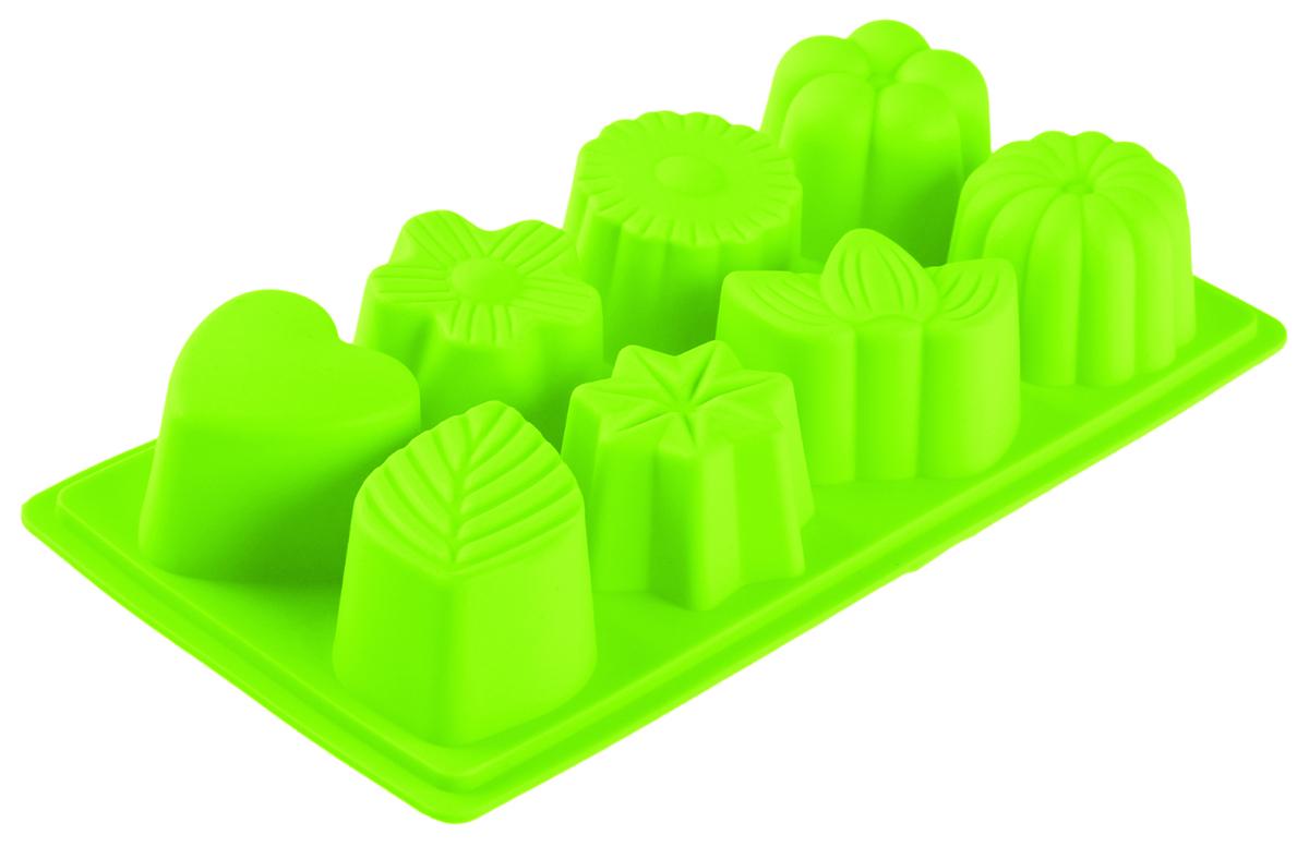 Форма для выпечки Доляна Листопад, цвет: салатовый, 22 х 12 х 3 см, 8 ячеек1007470