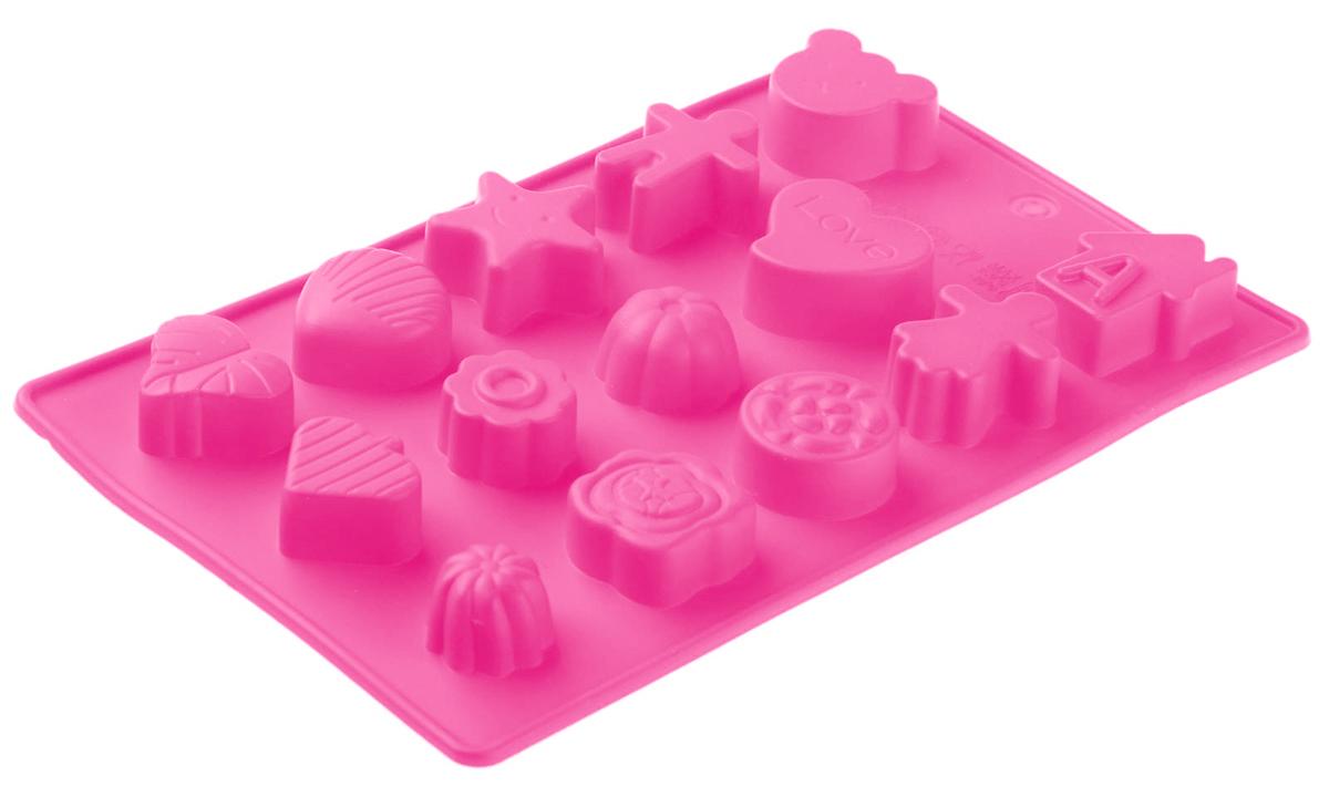 Форма для льда и шоколада Доляна Ассорти, цвет: розовый, 15 ячеек, 21 х 12 х 1,5 см1057079_розовыйФигурная форма для льда и шоколада Доляна Ассорти выполнена из пищевого силикона, который не впитывает запахов, отличается прочностью и долговечностью. Материал полностью безопасен для продуктов питания. Кроме того, силикон выдерживает температуру от -40°С до +250°С, что позволяет использовать форму в духовом шкафу и морозильной камере. Благодаря гибкости материала готовый продукт легко вынимается и не крошится.С помощью такой формы можно приготовить оригинальные конфеты и фигурный лед. Приготовить миниатюрные украшения гораздо проще, чем кажется. Наполните силиконовую емкость расплавленным шоколадом, мастикой или водой и поместите в морозильную камеру. Вскоре у вас будут оригинальные фигурки, которые сделают запоминающимся любой праздничный стол! В формах можно заморозить сок или приготовить мини-порции мороженого, желе, шоколада или другого десерта. Особенно эффектно выглядят льдинки с замороженными внутри ягодами или дольками фруктов. Заморозив настой из трав, можно использовать его в косметологических целях.Форма легко отмывается, в том числе в посудомоечной машине.