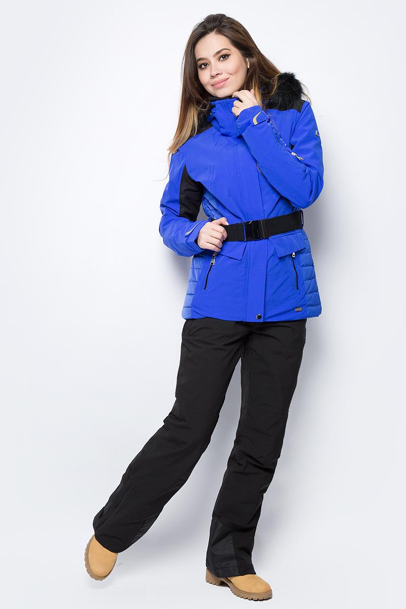 Куртка женская Luhta, цвет: синий. 838425393L8V_350. Размер 40 (48)838425393L8V_350Женская куртка Luhta выполнена из непромокаемой ветрозащитной ткани. Куртка с воротником-стойкой и капюшоном застегивается на удобную застежку-молнию спереди с ветрозащитной планкой на кнопках. Манжеты рукавов регулируются при помощи хлястиков на липучках. Спереди расположены два втачных кармана на застежках-молниях. Прилагается съемный пояс.