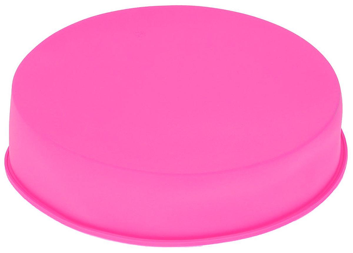 Форма для выпечки Доляна Круг, цвет: розовый, 24 х 5 см1057126_розовыйФорма для выпечки Доляна Круг, цвет: розовый, 24 х 5 см