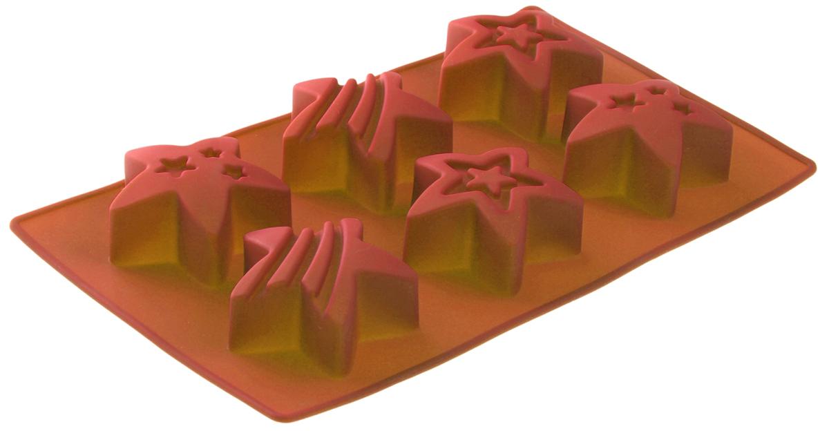 Форма для выпечки Доляна Яркие звезды, цвет: оранжевый, 29 х 17,5 х 2,5 см, 6 ячеек1057183Форма Доляна Яркие звезды выполнена из силикона, благодаря этому выпечкувынимать легко и просто. Материал устойчив к фруктовым кислотам, может бытьиспользован в духовках и микроволновых печах. Перед первым применениемпромойте предмет тёплой водой. В процессе приготовления используйте кухонный инструмент из дерева,пластика или силикона. Перед извлечением блюда из силиконовой формы дайте ему немного остыть,осторожно отогните края предмета. Готовьте с удовольствием!