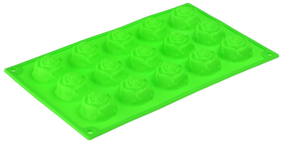 Форма для выпечки Доляна Розы, 29,5 х 17,5 х 2,5 см, цвет: салатовый, 15 ячеек