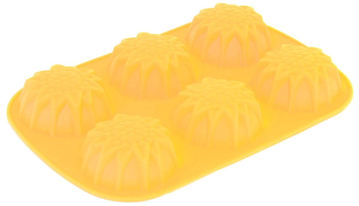 Форма для выпечки Доляна Солнечный цветок, цвет: желтый, 25 х 18 х 3 см, 6 ячеек1063399_желтыйФорма для выпечки из силикона — современное решение для практичных и радушных хозяек. Оригинальный предмет позволяет готовить в духовке любимые блюда из мяса, рыбы, птицы и овощей, а также вкуснейшую выпечку.Почему это изделие должно быть на кухне?блюдо сохраняет нужную форму и легко отделяется от стенок после приготовления;высокая термостойкость (от –40 до 230 ?) позволяет применять форму в духовых шкафах и морозильных камерах;небольшая масса делает эксплуатацию предмета простой даже для хрупкой женщины;силикон пригоден для посудомоечных машин;высокопрочный материал делает форму долговечным инструментом;при хранении предмет занимает мало места.Советы по использованию формыПеред первым применением промойте предмет тёплой водой.В процессе приготовления используйте кухонный инструмент из дерева, пластика или силикона.Перед извлечением блюда из силиконовой формы дайте ему немного остыть, осторожно отогните края предмета.Готовьте с удовольствием!