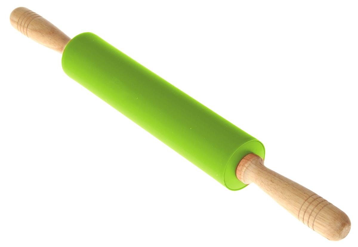 Скалка Доляна Валенсия, цвет: салатовый, 49 х 5,5 см1128818Скалка Доляна Валенсия необходимый на кухне предмет. Изделие из силикона представляет собой усовершенствованную версию привычного инструмента. Яркий дизайн делает предмет украшением арсенала каждого повара. Готовку облегчают удобные ручки.Преимущества:- легко отмывается, не впитывает запахи и не требует особого ухода;- тесто не прилипает к поверхности, поэтому дополнительной присыпки мукой не требуется;- помогает быстрее раскатывать даже замерзший продукт;- не царапает поверхность, можно раскатывать прямо на столешнице.