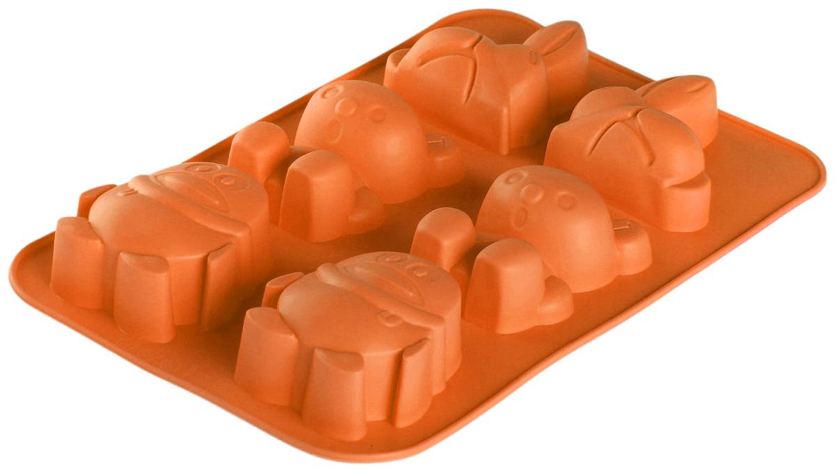 Форма для выпечки Доляна Кролик, коала, пингвин, цвет: оранжевый, 25,5 х 16,8 х 2,8 см, 6 ячеек1166896