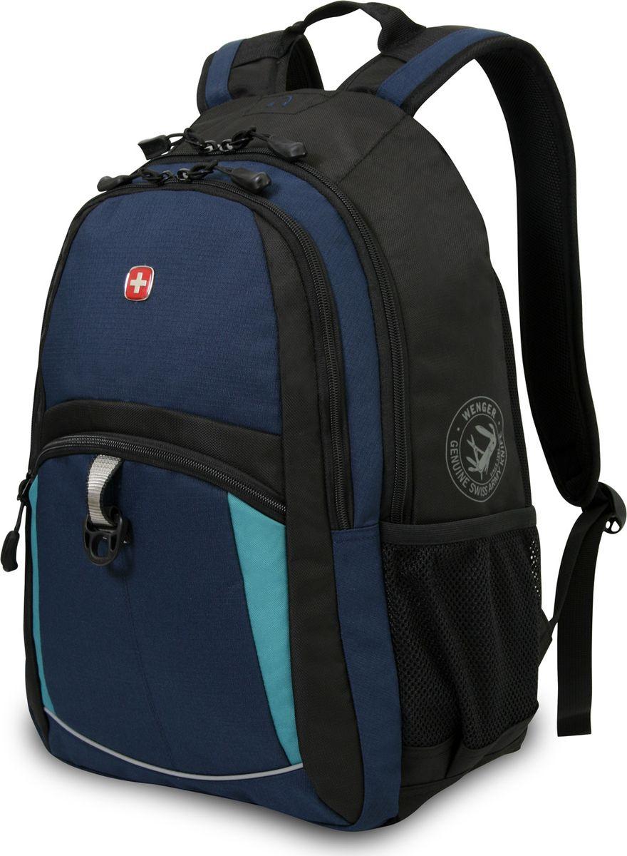 Рюкзак Wenger, цвет: синий, 22 л3191203408Материал изготовления: полиэстер 600D/2;- Цвет: синий, черный, бирюзовый;- Отделение с большим карманом;- Отделение для ноутбука 15;- Карман для MP3-плеера и отверстие для наушников;- Отделение с карманом-органайзером для мелких предметов и кольцом для ключей;- Внешний карман на молнии;- 2 кармана для бутылок из эластичной сетки;- Спинка и ремни с системой циркуляции воздуха Airflow;- Эргономичная ручка;- Регулируемые плечевые ремни с петлей для очков и сетчатым кармашком для мелких предметов;- Размер: 33 x 15 x 45 см;- Объем: 22 л.Рюкзак городской 3191203408 - необходимая вещь современного активного человека. Прочный полиэстер 600D/2, из которого он изготовлен, защищает содержимое рюкзака от попадания влаги и ультрафиолетовых лучей.Эта модель достаточно вместительная - ее объем составляет 22 литра. Спинка и ремни оснащены системой циркуляции воздуха Airflow для обеспечения комфорта при эксплуатации. Городской рюкзак Wenger оборудован множеством отделений и карманов для хранения вещей - специально для хранения мелких вещей и ключей существует отделение с карманом-органайзером. По бокам рюкзак оснащен двумя карманами для бутылок из эластичной сетки.Благодаря эргономичной ручке, использование городской модели рюкзака Wenger будет приносить вам удовольствие. Его неповторимый стиль и оригинальный дизайн подчеркивают синий, черный и бирюзовый цвета. Без сомнения, этот рюкзак будет радовать своего владельца своим швейцарским качеством и позволит ощутить новые ступени комфорта!