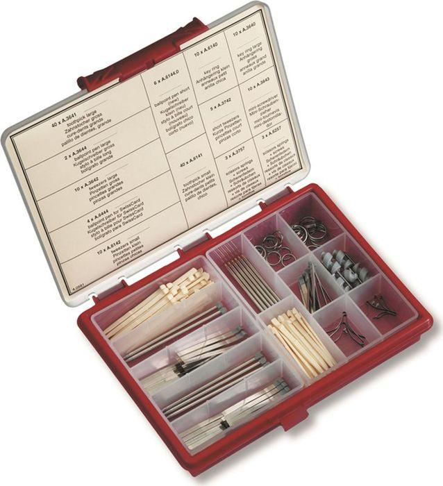 Набор сменных элементов для ножей Victorinox, в пластиковом коробе. 4.05814.0581Набор сменных элементов для ножей Victorinox (включает пинцеты, зубочистки, кольца для крепления к ключам, шариковые ручки, микро-отвёртки и др. ), в пластиковом коробе