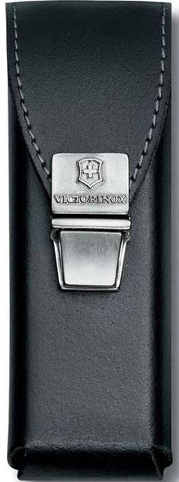Чехол на ремень Victorinox для мультитулов SwissTool, на пружинной защелке, кожаный, цвет: черный чехол victorinox для 111мм 2 4 ур и swisstool 115мм нейлон черный 4 0823 n