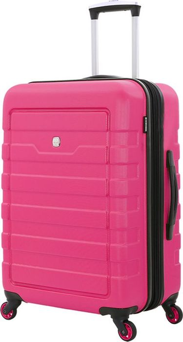 Чемодан Wenger Tresa, цвет: розовый, 66 л6581838165Стильный чемодан повышенной комфортности для двоих – Wenger TRESA 6581838165.Чемодан изготовлен из высококачественного пластика, с рельефной отделкой корпуса, в розовом цвете. Не внешних сторонах имеются эргономичные ручки: для верхнего и бокового захвата, также предусмотрены боковые ножки для бокового хранения чемодана. Для быстрой транспортировки имеются 4 поворотных колеса с максимальным радиусом вращения. Телескопическая ручка из алюминия складывается в защитный отсек.В чемодане предусмотрены два главных отсека: нижний – повышенной вместимости, с защитной х-образной резинкой, верхний, для дополнительных вещей – с сетчатым клапаном на молнии. Также имеется удобный карман для мелких предметов. Размер изделия – 46x27x66 см, вместимость – 66 л.