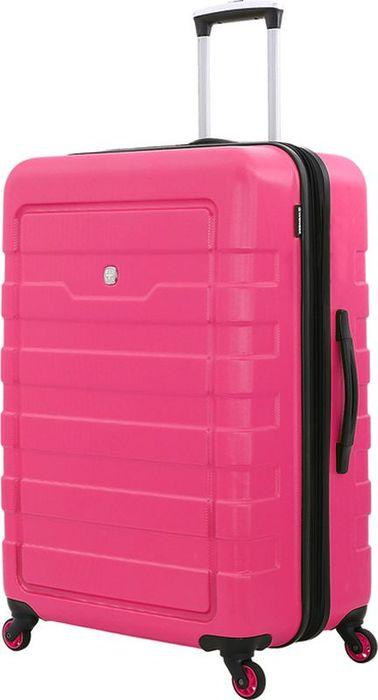 Чемодан Wenger Tresa, цвет: розовый, 100 л6581838177Вместительный и надежный чемодан для всей семьи – Wenger TRESA 6581838177.Чемодан изготовлен из прочного пластика, имеет рельефный дизайн корпуса, основной цвет – розовый.На чемодане предусмотрены три ручки: две верхние, одна из которых телескопическая и третья – боковая. С одной стороны, на чемодане имеются защитные ножки, для бокового хранения. Телескопическая ручка из прочного алюминия надежно закрепляется в специальном отсеке. Чемодан имеет 4 поворотные колеса с максимальным радиусом вращения.Внутреннее пространство разделено на отсеки: главное отделение имеет удерживающие устройство: х-образная резинка, дополнительное отделение в крышке чемодана закрепляется клапаном из сетки на молнии. Также предусмотрен внутренний карман на молнии для мелких предметов.Размер чемодана – 48x30x76 см, вместимость – 100 л.