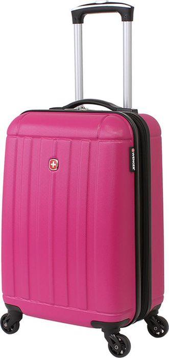 Чемодан Wenger Uster, цвет: розовый, 37 лWGR6297808154Небольшой чемодан Wenger Uster WGR6297808154 розового цвета изготовлен из АБС-пластика.Его объем составляет 37 литров, а размер - 34 x 22 x 55 см. Такой компактный чемодан пригоден для использования в качестве ручной клади в большинстве авиакомпаний мира.Надежная застежка-молния плотно закрывает содержимое чемодана.Внутренние фиксирующие ремни обеспечивают бережную транспортировку вещей, находящихся в глубоком отделении. Большой сетчатый карман на молнии пригодится для хранения мелких вещей и важных документов.Вращающиеся на 360 градусов пластиковые колесики обеспечат маневренность передвижения чемодана. Легкая телескопическая ручка с фиксатором облегчает процесс управления его движением.