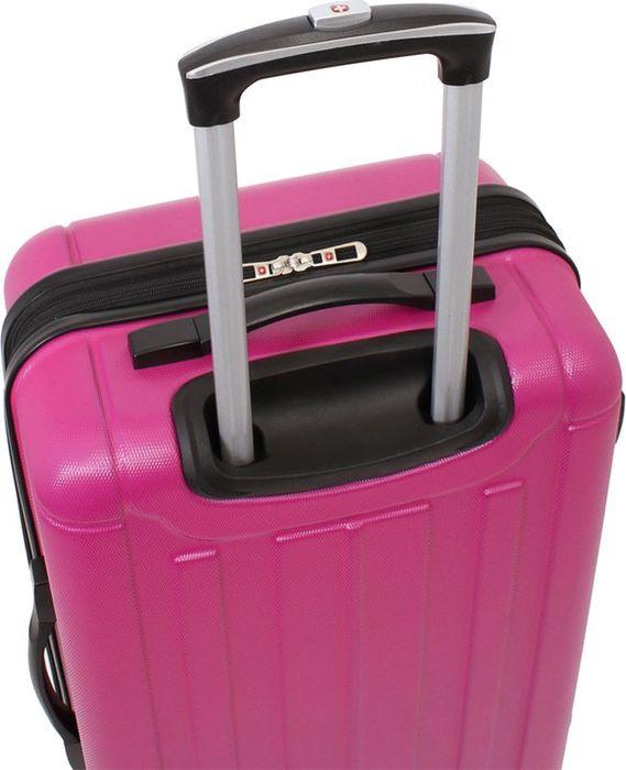 Чемодан Wenger Uster, на колесах, цвет: розовый, 62 лWGR6297808167Чемодан розового цвета изготовлен из АБС-пластика. Этот чемодан станет незаменимым помощником в любой поездке и прекрасно подойдет для семейного отдыха. Эргономичные ручки в верхней и боковой частях чемодана обеспечивают комфорт при перемещении. Внутренние фиксирующие ремни обеспечивают бережную транспортировку вещей, находящихся в глубоком отделении. Большой сетчатый карман на молнии пригодится для хранения мелких вещей и важных документов. Вращающиеся на 360 градусов пластиковые колесики обеспечат маневренность передвижения чемодана. Легкая телескопическая ручка с фиксатором облегчает процесс управления его движением.Вес: 3,7 кг; объем: 62 л.Размер: 41 х 26 х 58 см.
