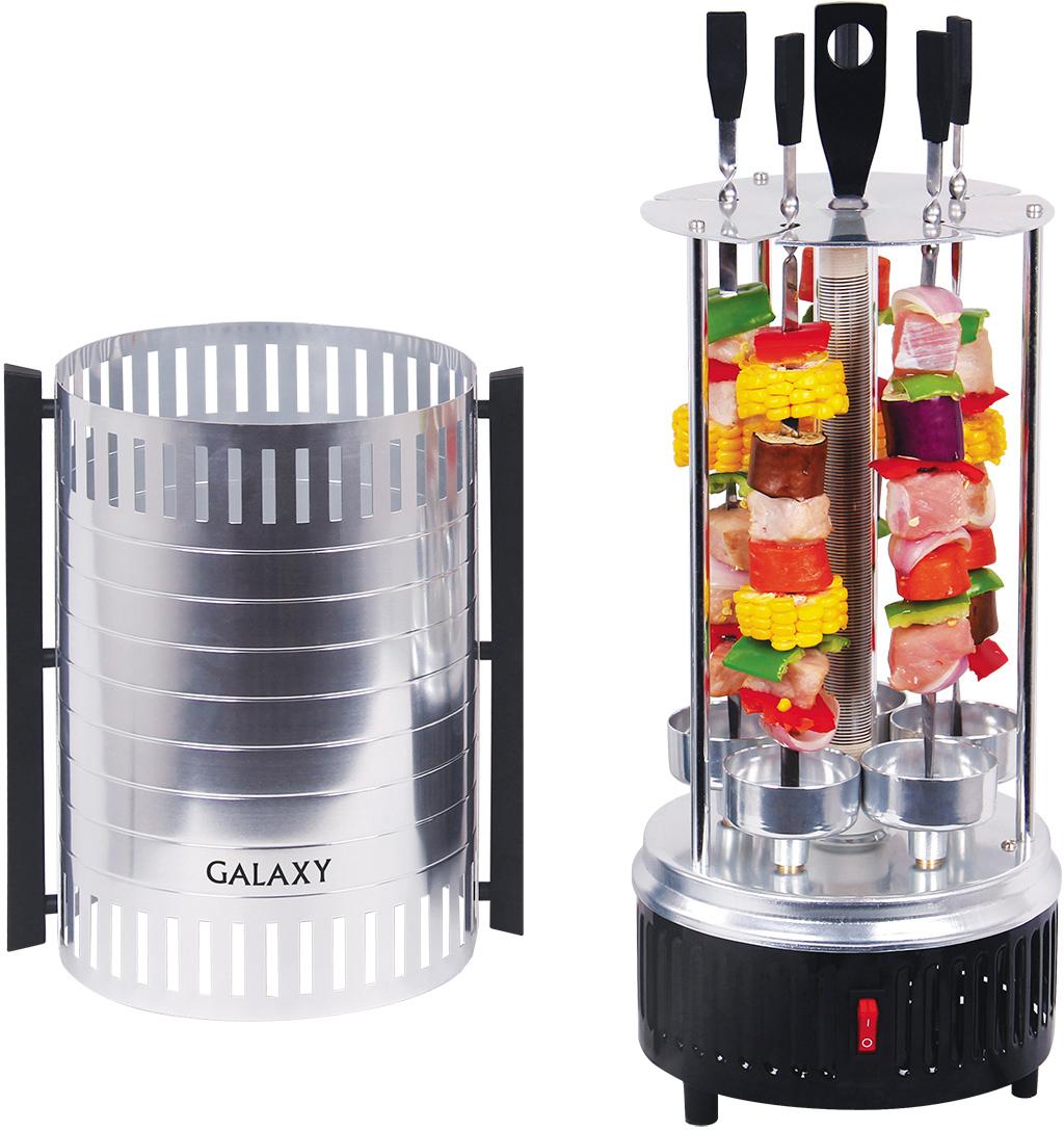 Galaxy GL2610, Silver Black шашлычница4630003366856Шашлычница Galaxy GL2610 позволит вам приготовить ароматное и нежное мясо прямо у вас на кухне. Теперь вы сможете побаловать себя и своих родных, друзей изумительным шашлыком в любое время года и в любую погоду. Использование этого прибора избавит вас от трудоемкой подготовки. Достаточно лишь подключить электрошашлычницу к сети и она начнет работать. Одним из главных достоинств этой модели является быстрое приготовление, сам процесс не займет более 20 минут. Полностью автоматизированная система не требует вашего контроля и участия, поэтому вы сможете развлекать своих гостей или заниматься другими делами, пока готовится шашлык.
