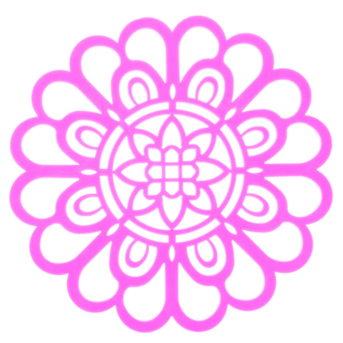 Подставка под горячее Доляна Солнечный день, цвет: светло-розовый, диаметр 19 см1210695Силиконовая подставка под горячее Доляна - практичный предмет, который обязательно пригодится в хозяйстве. Изделие поможет сберечь столы, тумбы, скатерти и клеёнки от повреждения нагретыми сковородами, кастрюлями, чайниками и тарелками.