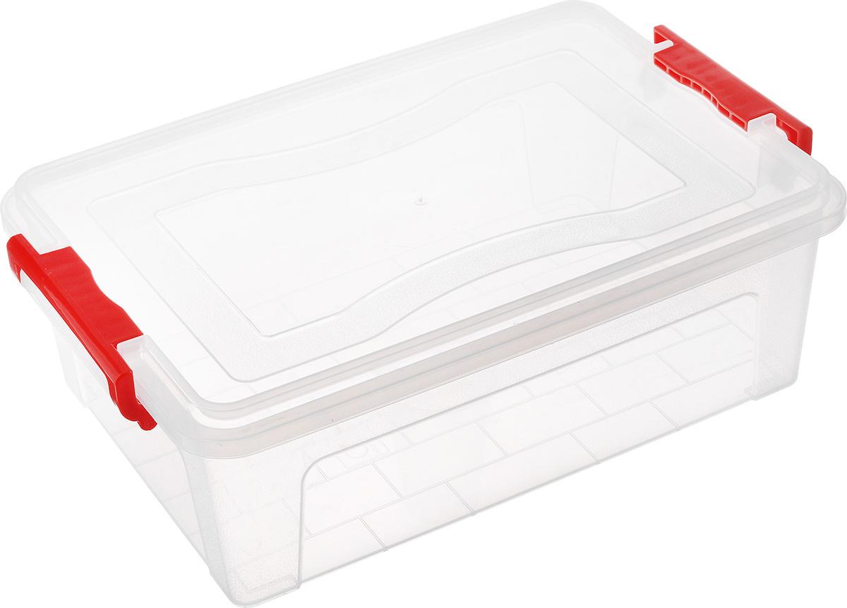 Контейнер для хранения Idea, прямоугольный, цвет: прозрачный, красный, 10,5 л
