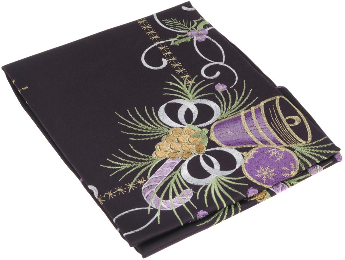 Скатерть Home Queen Колокольчик, квадратная, цвет: фиолетовый, 85x 85 см63966Новогодняя скатерть Queen Колокольчик изящно украсит праздничный стол. Изделие выполнено из плотной полиэстеровой ткани, украшенной яркой декоративной ажурной вышивкой в виде колокольчиков. Изделие можно использовать поверх однотонной скатерти или в качестве самостоятельного покрытия на стол. Скатерть Queen Колокольчик создаст новогоднее настроение и станет прекрасным дополнением интерьера гостиной, кухни или столовой.