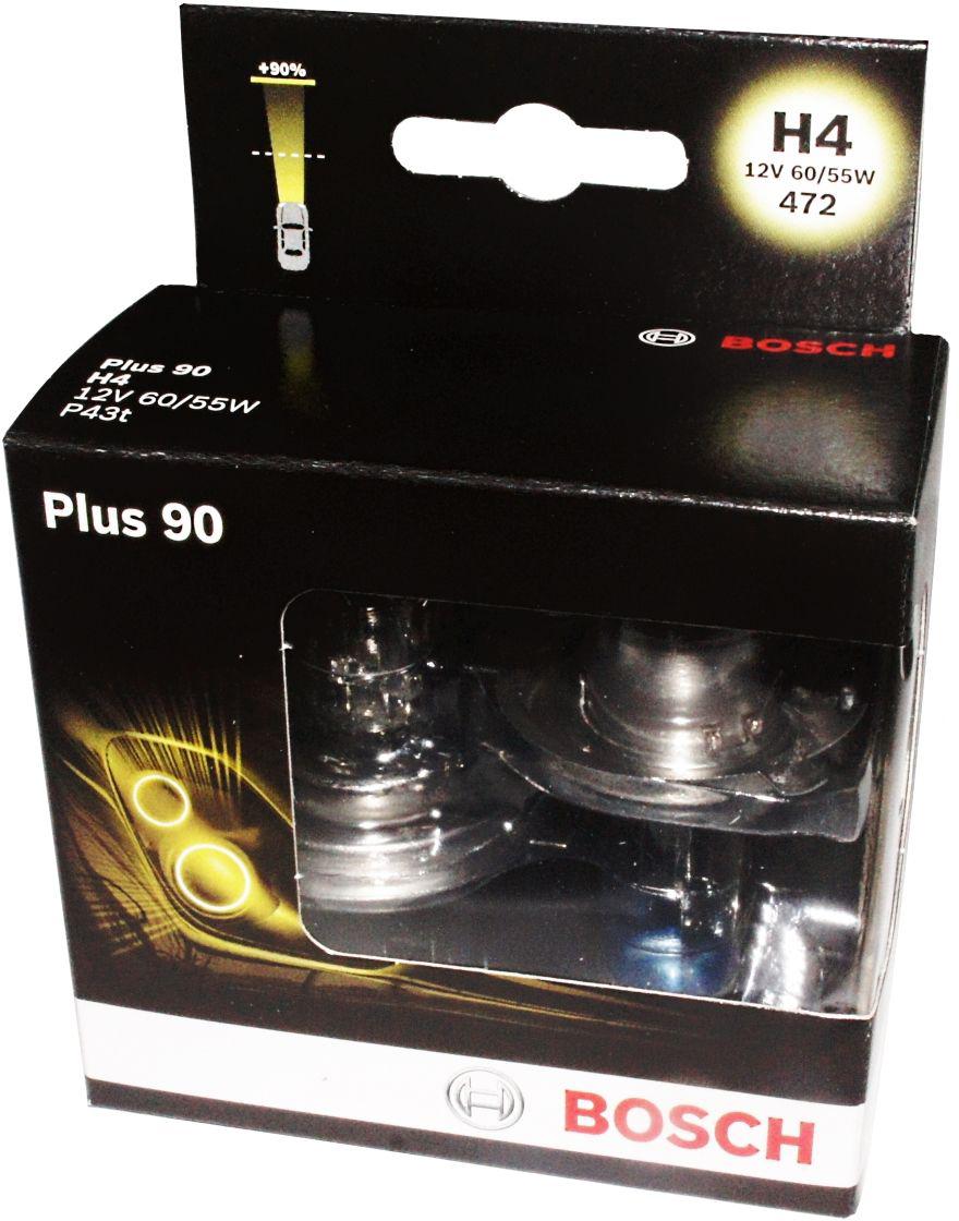 Лампа Bosch Plus 90 H4, 2 шт. 19873010741987301074Новые лампы Bosch Plus 90 H4 для галогенных фар, освещают дорогу интенсивным белымсветом. Лампы отличаются высокой яркостью и могут давать до 50% больше света, чем стандартные галогенные фары. Лампы Bosch доступны в вариантах H1, H4 и H7. Серебряное покрытие ламп H4 и H7 делает их едва заметными за стеклами выключенных фар. Новые лампы выглядят наиболее эффектно в сочетании с фарами из прозрачного стекла и подчеркивают современный дизайн автомобилей. Увеличенная яркость и дальность освещения положительно сказывается на безопасности движения. В темное время суток или в сложных погодных условиях, таких как ливень или густой туман, водитель замечает опасную ситуацию намного раньше и на большем расстоянии, при этом лучше заметен и сам автомобиль с фарами Bosch. Напряжение: 12V.