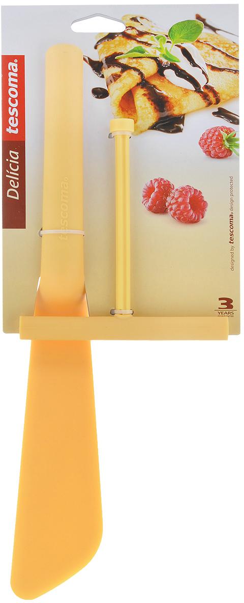 Лопатка для блинов Tescoma Delicia с распределителем теста, цвет: желтый630066Лопатка Tescoma Delicia прекрасно подходит для переворачивания блинов во время приготовления. В комплекте - инструмент для легкого и равномерного распределения теста по сковороде. Изделия изготовлены из высококачественного нейлона, устойчивого кбольшим температурам - до 210°C.Распределитель после использования храните в ручке лопатки. Можно мыть в посудомоечной машине.Длина лопатки: 32 см. Размер рабочей части лопатки: 16,5 см х 5 см. Размер распределителя: 13 см х 12 см х 1,5 см.