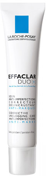 La Roche-Posay Корректирующий крем-гель для проблемной кожи лица  Effaclar ДУО[+] 40 млM6940500Обладает комплексным воздействием: сокращает выраженные несовершенства, а также корректирует и предотвращает появление следов после угревых высыпаний. Благодаря содержанию запатентованного компонента Effaclar DUO [+] воздействует на процесс меланогенеза, препятствуя механизму поствоспалительной гиперпигментации. Противовоспалительное действие: уменьшает выраженность воспалительного элемента. Действие против пигментации: снижает активность меланоцитов, сокращая неконтролируемую продукцию меланина. Предотвращение постакне: активный компонент Прокерад обеспечивает профилактику образования следов после угревой сыпи, а липо-гидроксикислота борется с существующими следами, разглаживая рельеф кожи.