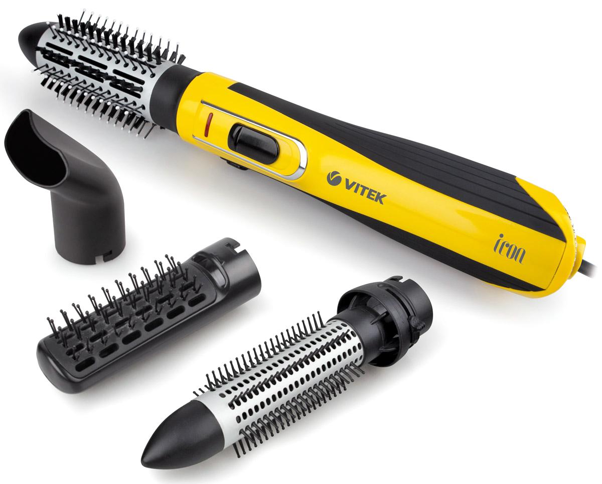 Vitek VT-2509(Y) фен-щеткаVT-2509(Y)Совершенно новый подход к укладке волос вам позволит открыть для себя фен-щетка VT-2509 Y. Стильно и компактное устройство поможет не только сделать самые невероятные варианты укладки волос в шикарные локоны, но и сохранить здоровье волос. Инновационное покрытие решетки Tourmaline Ionic при нагревании горячим воздухом образует отрицательные ионы, которые запечатывают чешуйки волос – это значит, что вы можете забыть о неприятном эффекте электризации волос и радоваться их шелковой гладкости. Еще одна технология Aqua Ceramic равномерно распределяет тепло по нагреваемой поверхности – ваши волосы не пересушиваются и сохраняют естественную влагу. Две скорости воздушного позволят выбрать оптимальный для вашей укладки. А наличие четырех насадок помогут создавать различные вариации укладки. С термощетками 30 мм (с выдвижными зубчиками для автоматического освобождения локонов ) и 40 мм с керамическим покрытием вы сформируете локоны разного объема. Плоская щетка позволит выпрямить волосы, а концентратор приподнять волосы у корней.