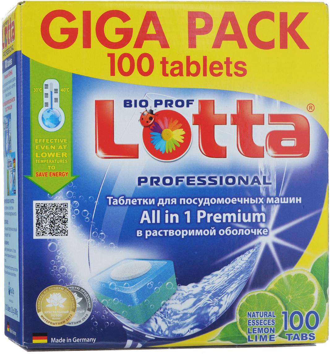 Таблетки для посудомоечных машин Lotta All in 1 Premium, c ароматом лимона, 100 шт таблетки для пмм lotta таблетки lotta 30 шт