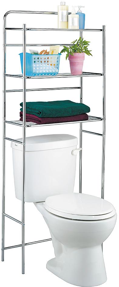 Полка для туалета Tatkraft Tanken, 3-х ярусная, цвет: серебристый, 59,5 см х 26 см х 151,5 см полка для ванной комнаты tatkraft mega lock цвет серый металлик 38 x 14 x 6 см