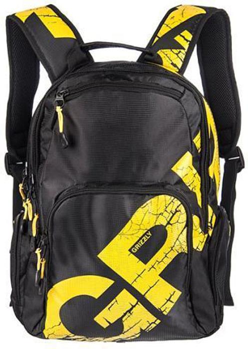 Рюкзак городской Grizzly, цвет: черный, желтый. RU-423-1/5 рюкзак городской grizzly цвет черный желтый 22 л ru 603 1 2
