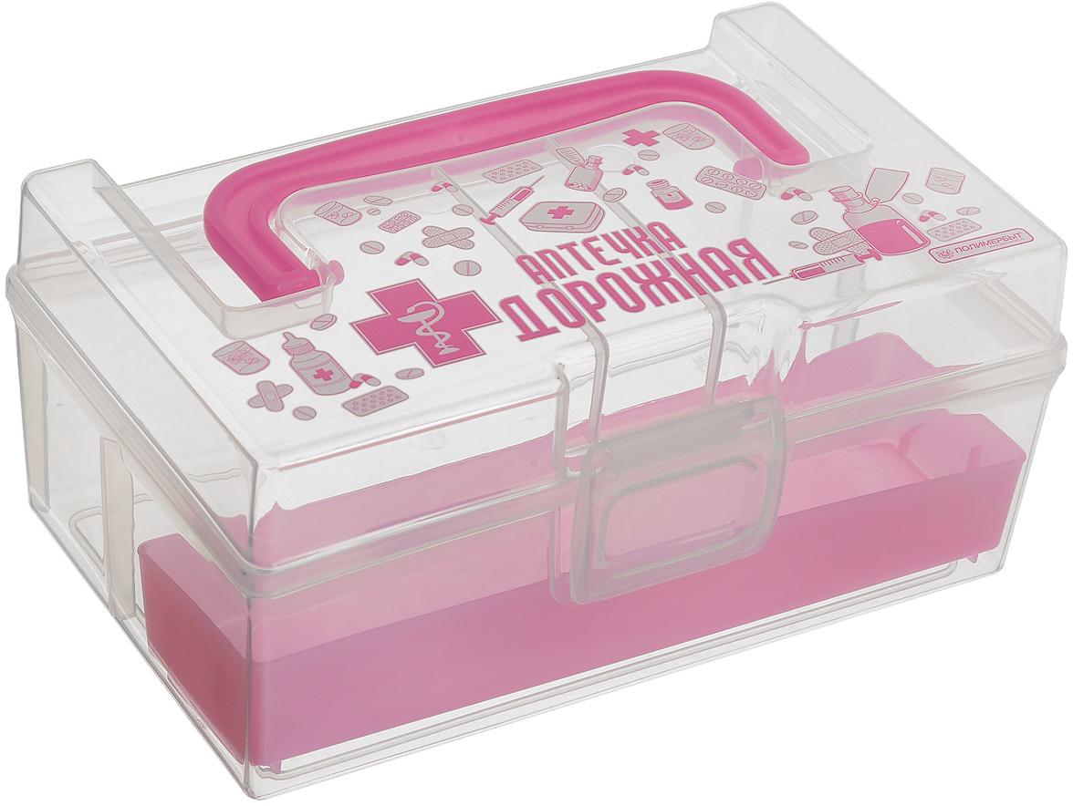 Контейнер для аптечки Полимербыт Аптечка дорожная, с вкладышем, цвет: розовый, прозрачный, 800 млС30903_розовыйКонтейнер Полимербыт Аптечка дорожная выполнен из прозрачного пластика. Для удобства переноски сверху имеется ручка. Внутрь вставляется цветной вкладыш с одним отделением. Контейнер плотно закрывается крышкой с защелками. Контейнер для аптечки Полимербыт Аптечка дорожная очень вместителен и поможет вам хранить все лекарства в одном месте.Размер вкладыша: 16 см х 4 см х 2 см.