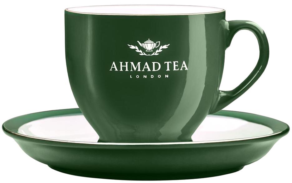 """Чайная пара """"Ahmad Tea"""" состоит из чашки и блюдца, изготовленных из экологически чистой глазурованной керамики. Керамика - исключительно  термостойкий, экологически чистый материал, сохраняющий все натуральные свойства воды и ее природный вкус, обладающий низкой теплопроводностью - напиток дольше остается горячим.Аристократичные чашки """"Ahmad Tea"""" известны тем, что из них пьют чай знатоки клуба """"Что? Где? Когда?"""".Чайная пара """"Ahmad Tea"""" станет отличным подарком для любителей чая. Дизайн изделий, несомненно, придется по вкусу и ценителям классики, и тем, кто предпочитает современный стиль.Изделия можно мыть в посудомоечной машине и использовать в микроволной печи. Объем чашки: 200 мл. Высота чашки: 7,5 см.Диаметр (по верхнему краю): 8,5 см.Диаметр блюдца: 15 см.Высота блюдца: 2 см."""
