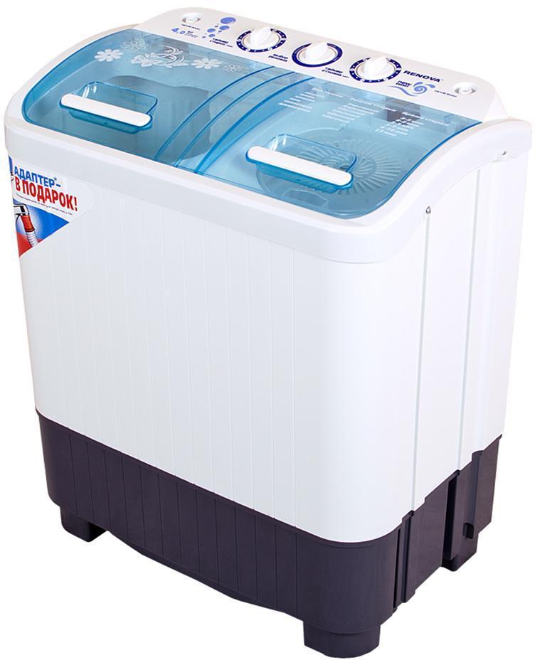 Renova WS-40PET стиральная машина4650000914522Стиральная машина полуавтомат RENOVA WS-40PET российского производства с вертикальной загрузкой имеет бак объемом 4 кг, а также механическое управление. Новый, более мощный двигатель, повышает эффективность стирки. Эксклюзивная форма активатора, направлено распределяет потоки воды, что улучшает качество стирки. Новая серия New Energy Новый мощный двигатель Эксклюзивная форма активатора максимально эффективно распределяет потоки воды Новый дизайн Класс энергоэффективности: А+ Два бака (стирка, отжим) Загрузка сухого белья в бак до 4.0 кг Загрузка белья при отжиме до 3,5 кг Отжим 1350 об/мин Максимальная потребляемая мощность: 360 Вт Таймер Сливной насос Безопасная система отжима Пластиковый корпус, не подверженный коррозии Габариты (ширина/глубина/высота): 600x360x695 мм Размеры упаковки: 630x385x730 мм Масса НЕТТО: 12,7 кг Масса БРУТТО: 14 кг Сделано в России
