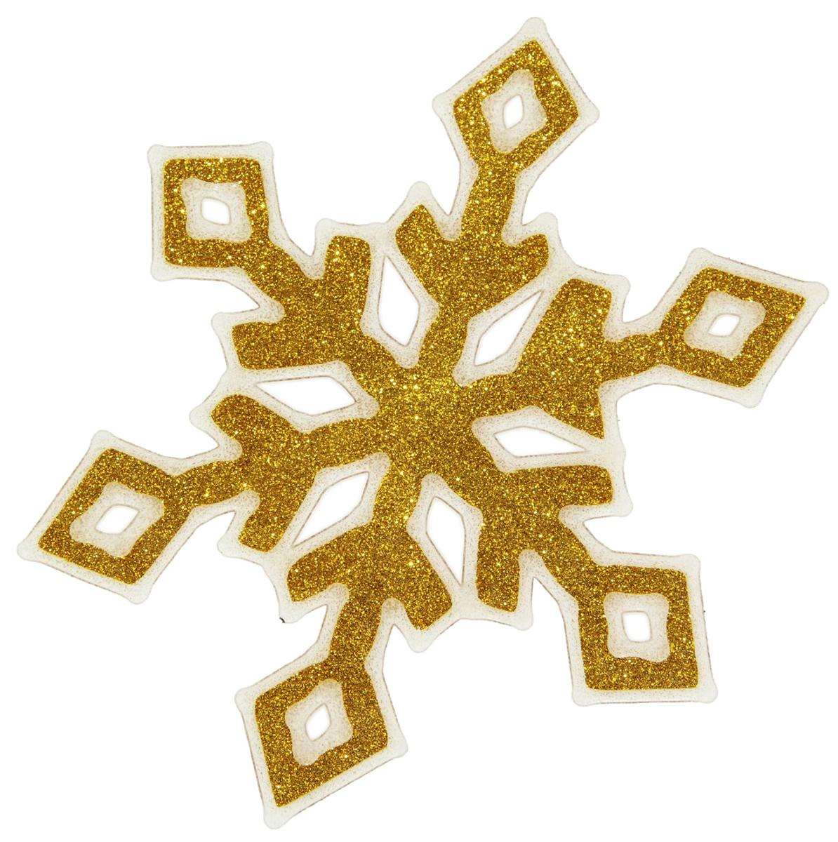 Наклейка на стекло Золотая снежинка с ромбиками1399714Зимой не только мороз украшает стекла узорами. Сделайте интерьер еще торжественней: преобразите его с помощью специальных наклеек! Декор из силикона не содержит клей и не оставляет следов. Пластичная фигурка сама прилипает к гладкой поверхности, а в конце зимних праздников ее легко снять и отложить до следующего года. Прикрепите на стекло или зеркало одно украшение или создайте целую композицию. Новогодние наклейки приблизят праздничное настроение!