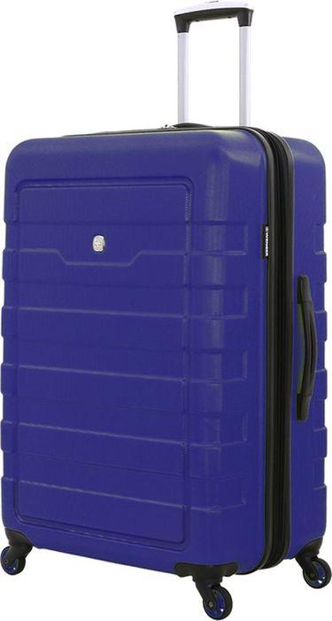 Чемодан Wenger Tresa, на колесах, цвет: синий, 100 лWG6581343177Вместительный и надежный чемодан для всей семьи. Чемодан изготовлен из прочного пластика, имеет рельефный дизайн корпуса, основной цвет – синий. На чемодане предусмотрены три ручки: две верхние, одна из которых телескопическая и третья – боковая. С одной стороны, на чемодане имеются защитные ножки, для бокового хранения. Телескопическая ручка из прочного алюминия надежно закрепляется в специальном отсеке. Чемодан имеет 4 поворотные колеса с максимальным радиусом вращения. Внутреннее пространство разделено на отсеки: главное отделение имеет удерживающие устройство: х-образная резинка, дополнительное отделение в крышке чемодана закрепляется клапаном из сетки на молнии. Также предусмотрен внутренний карман на молнии для мелких предметов. Вес: 4,6 кг; объем: 100 л.Размер: 48 х 30 x 76 см.