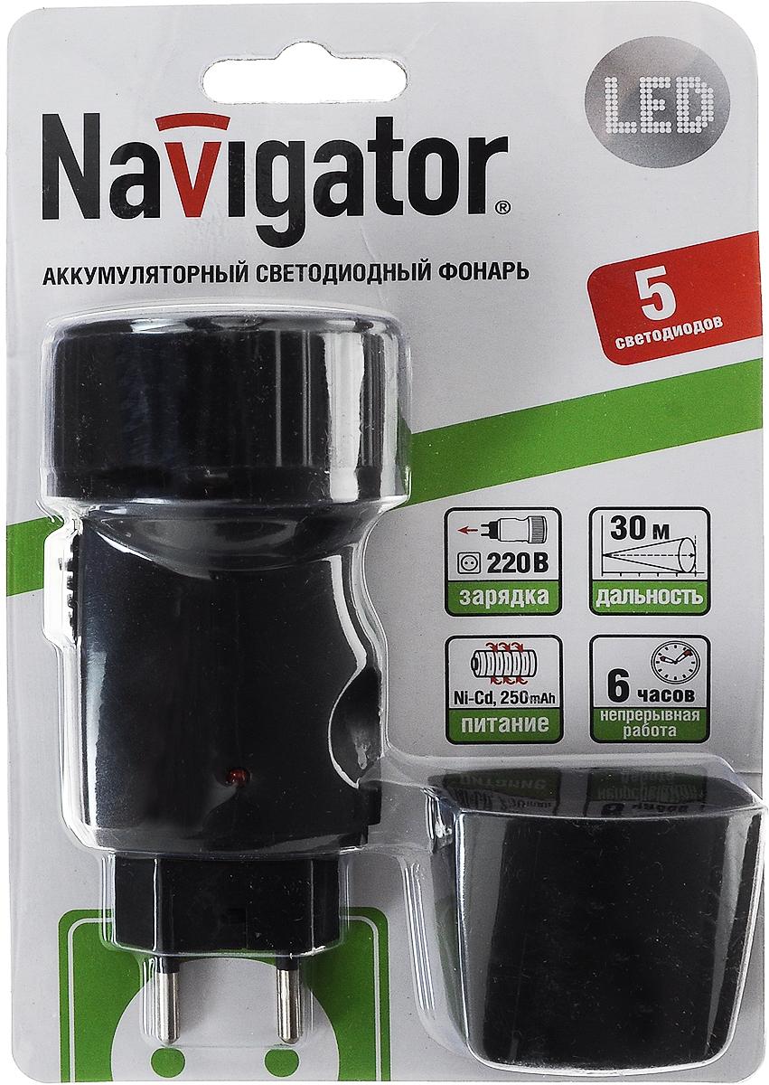 Фонарь ручной Navigator 94 941 NPT-CP02-ACCU4607136949416Ручной фонарь Navigator 94 941 NPT-CP02-ACCU - небольшой, носимый источник света для индивидуального использования на открытой местности и в помещениях. Устройство работает при помощи никель-кадмиевых аккумуляторов, которые можно заряжать напрямую от розетки, благодаря встроенной в корпус фонаря вилке. Конструкция выполнена из пластика. Фонарь светит при помощи пяти ярких светодиодов. Радиус действия изделия до 30 м.Напряжение питания: 3,6 ВРежим работы: 6 часов Количество режимов работы: 1Тип аккумулятора: Ni-cdКоличество аккумуляторов в комплекте: 3Размеры:128 х 55 мм
