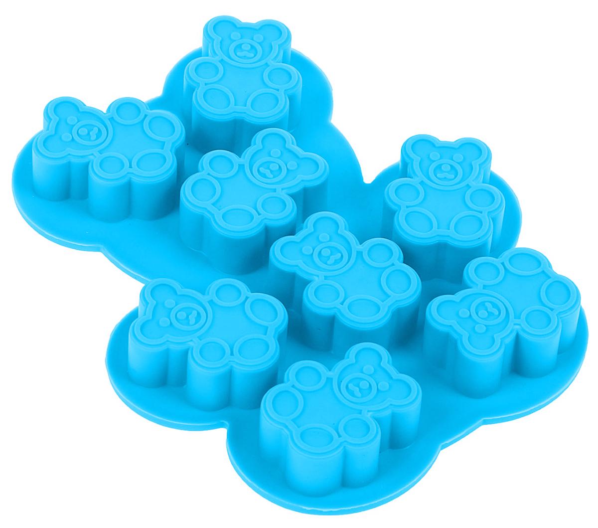 Форма для льда и шоколада Доляна Мишки, цвет: голубой, 8 ячеек, 13 х 11 х 1,5 см1540896Фигурная форма для льда и шоколада Доляна Мишки выполнена из пищевого силикона, который не впитывает запахов, отличается прочностью и долговечностью. Материал полностью безопасен для продуктов питания. Кроме того, силикон выдерживает температуру от -40°С до +250°С, что позволяет использовать форму в духовом шкафу и морозильной камере. Благодаря гибкости материала готовый продукт легко вынимается и не крошится.С помощью такой формы можно приготовить оригинальные конфеты и фигурный лед. Приготовить миниатюрные украшения гораздо проще, чем кажется. Наполните силиконовую емкость расплавленным шоколадом, мастикой или водой и поместите в морозильную камеру. Вскоре у вас будут оригинальные фигурки, которые сделают запоминающимся любой праздничный стол! В формах можно заморозить сок или приготовить мини-порции мороженого, желе, шоколада или другого десерта. Особенно эффектно выглядят льдинки с замороженными внутри ягодами или дольками фруктов. Заморозив настой из трав, можно использовать его в косметологических целях.Форма легко отмывается, в том числе в посудомоечной машине.