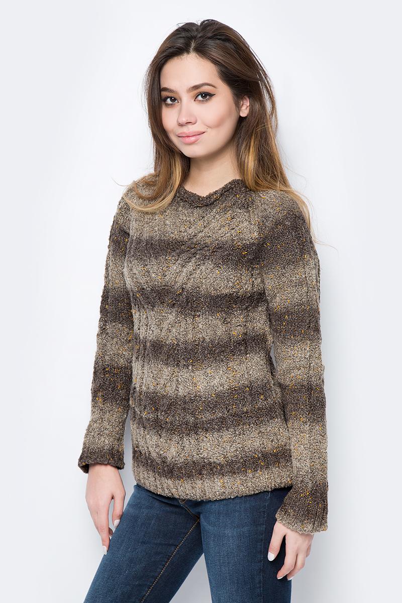 Джемпер женский F5, цвет: коричневый, бежевый. 276107_brown stripes. Размер XL (50) платье женское f5 цвет коричневый 271004