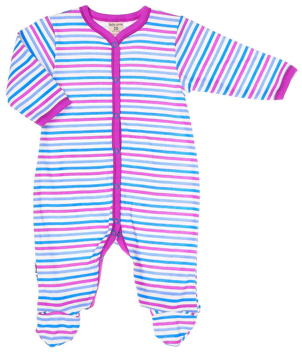 Комбинезон домашний детский Luky Child, цвет: розовый, молочный. А6-101. Размер 62/68А6-101Детский комбинезон Lucky Child - очень удобный и практичный вид одежды для малышей. Комбинезон выполнен из натурального хлопка, благодаря чему он необычайно мягкий и приятный на ощупь, не раздражают нежную кожу ребенка и хорошо вентилируются, а эластичные швы приятны телу малыша и не препятствуют его движениям. Комбинезон с длинными рукавами и закрытыми ножками имеет застежки-кнопки от горловины до щиколоток, которые помогают легко переодеть младенца или сменить подгузник. С детским комбинезоном Lucky Child спинка и ножки вашего малыша всегда будут в тепле, он идеален для использования днем и незаменим ночью. Комбинезон полностью соответствует особенностям жизни младенца в ранний период, не стесняя и не ограничивая его в движениях!